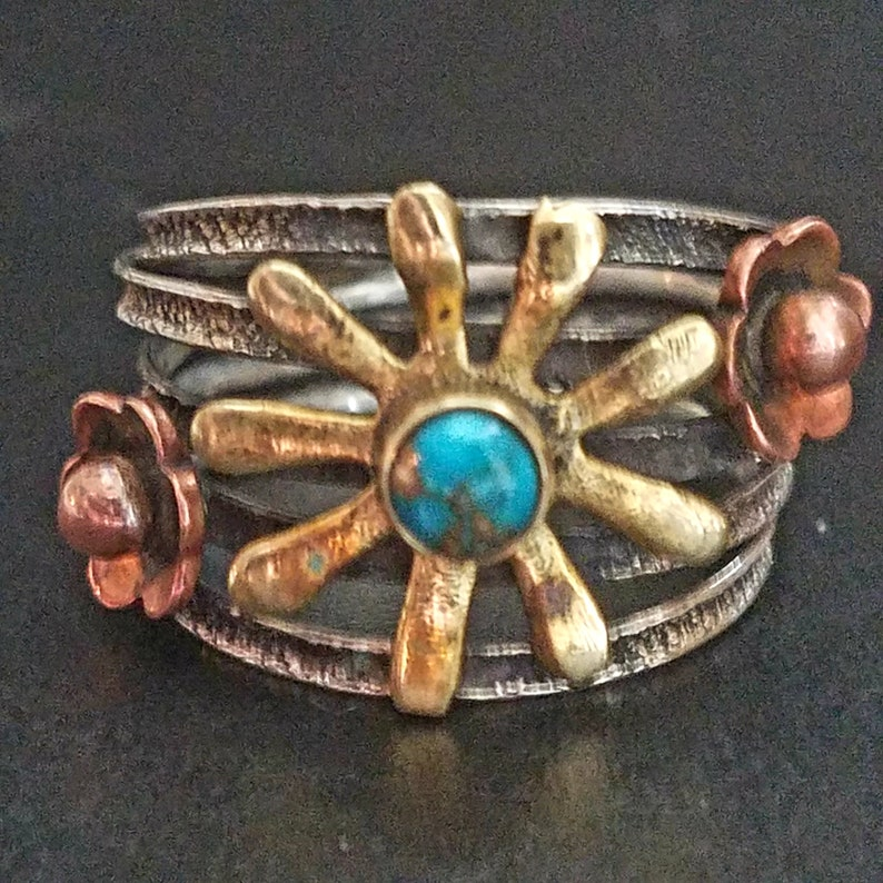 Vintage Silver Coper Brass Turquoise Hand Crafted Ring