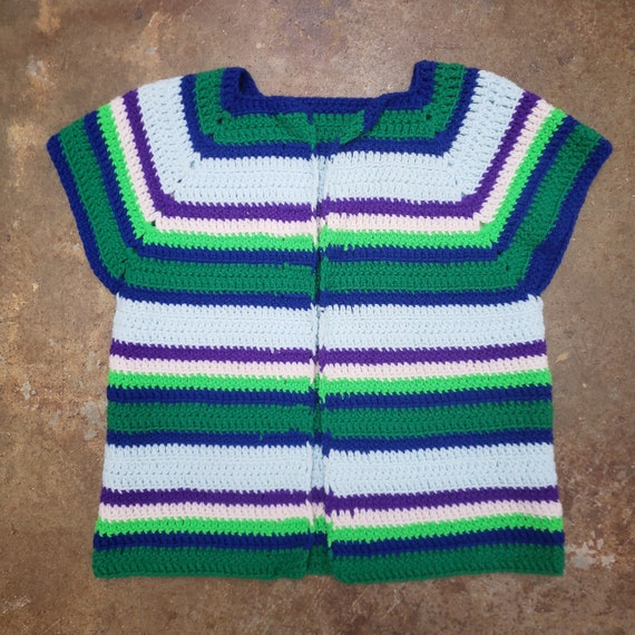 1970s Cool  Hand Crochet Striped Sweater Vest - image 1