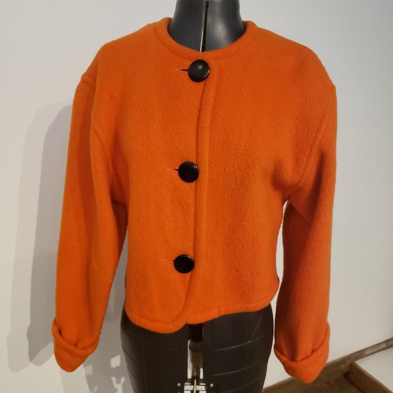 1980s Orange Boiled Wool Jacket