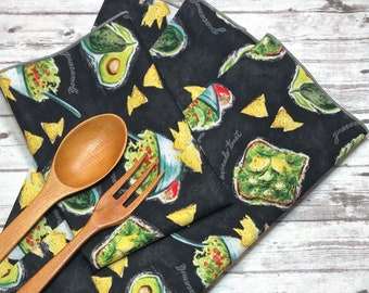 6 Vintage Bright and Bold Citrus Mixed Fruit Cotton Dinner Napkins