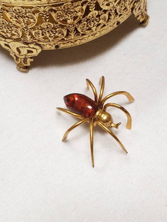 Vintage art deco spider brooch bakelite
