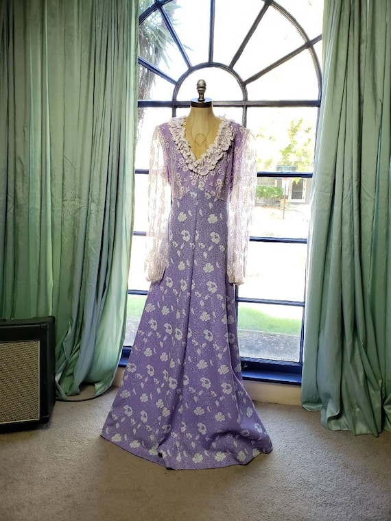 70s Floral Maxi Dress Purple