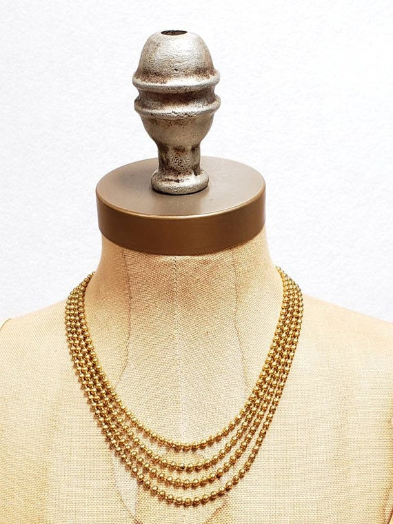 Vintage 1920s 30s Brass Beaded Multistrand Necklac