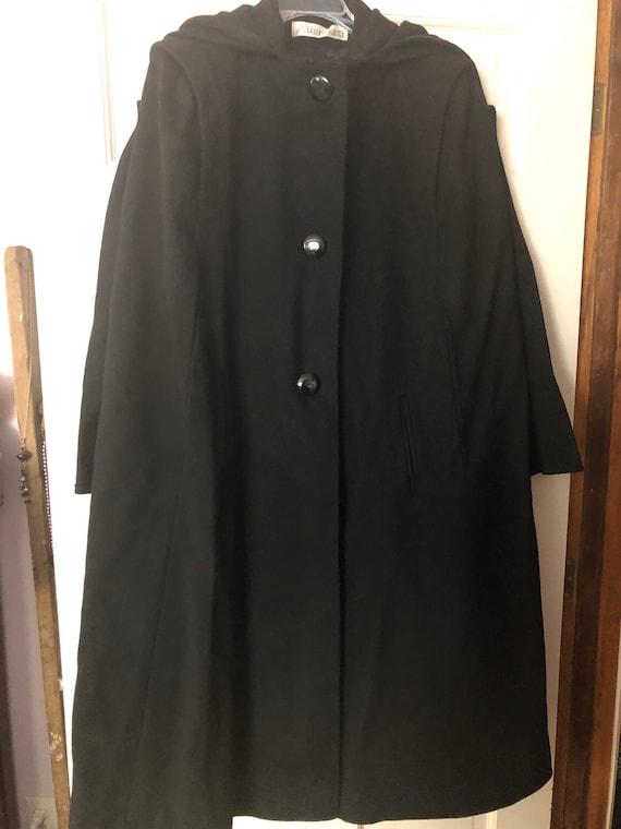 Alorna Vintage Black Wool Cape/Full Length Cape/At