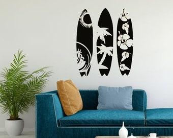 Dorm Decor Surf Decor Sports Wall Decal Surfboard Wall Art Tropical Wall Decal Surfboard Decal Coastal Decor Beach Beach Decor