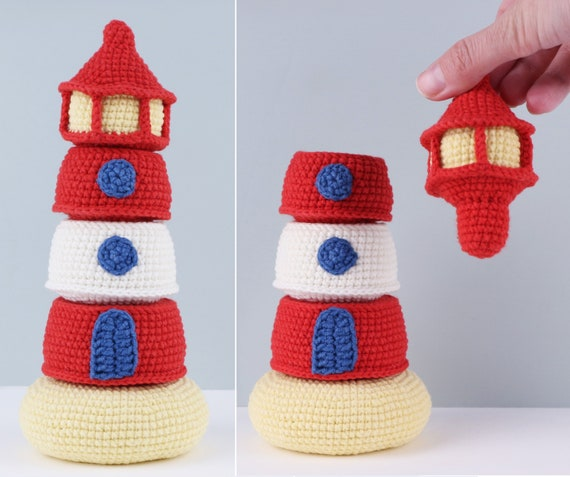 Lighthouse stacker Crochet pattern: Stacking Toy for baby PDF pattern