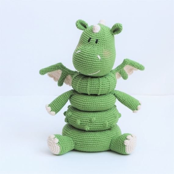 Dragon amigurumi pattern: Stacking Toy Rings, Crochet dragon toys for baby, PDF Crochet pattern English, French