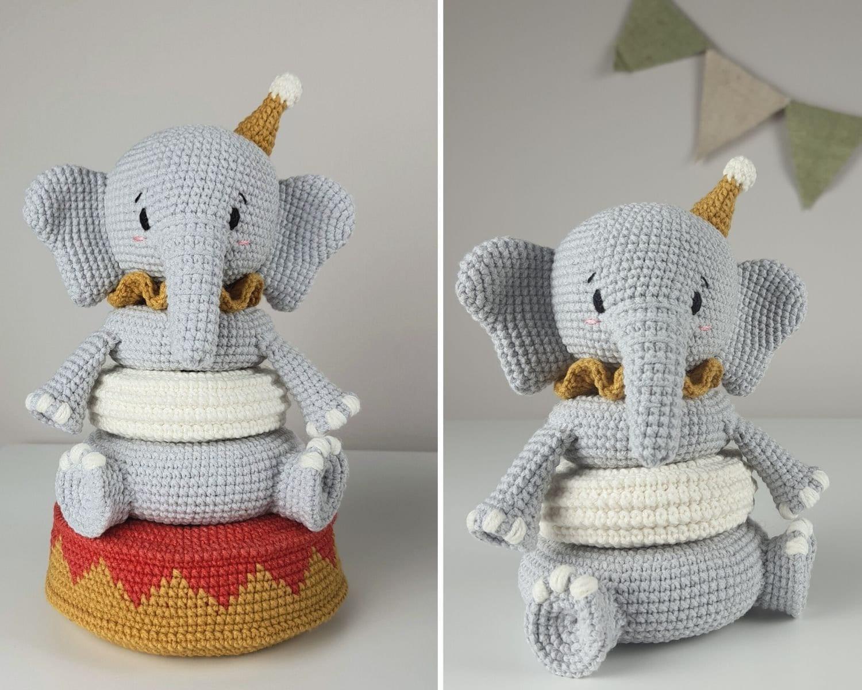 Stacking toy Elephant crochet pattern | Etsy