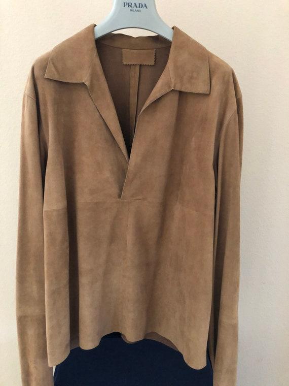 Prada suede leather jacket shirt - image 1