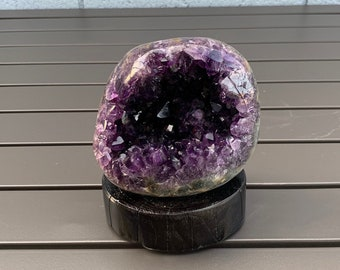 5 Tall Mini Amethyst Cave With Sugar Calcite Dark Purple Crystal Quartz Specimens Mineral Geode Stone On Stand Amethyst Cluster #K1010