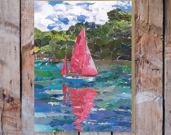 Helford River Cornwall - Greeting Card Blank, Paper Collage Art