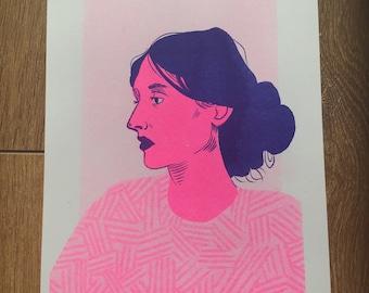 A5 Virginia Woolf Risograph print