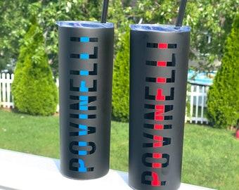 Personalized thin blue line 20oz tumbler - skinny tumbler - personalized - Thin red line 20oz personalized tumbler