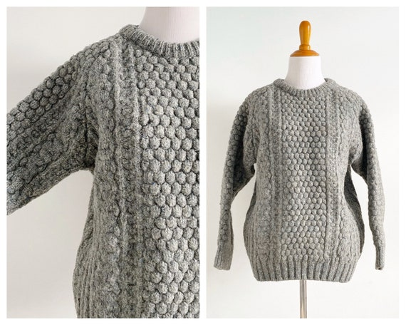 Vintage 1970s Irish Fisherman Wool Sweater | Chun… - image 1