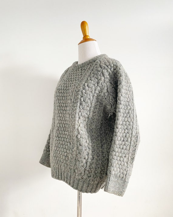 Vintage 1970s Irish Fisherman Wool Sweater | Chun… - image 4