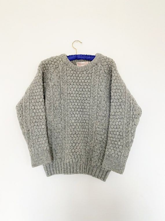 Vintage 1970s Irish Fisherman Wool Sweater | Chun… - image 9