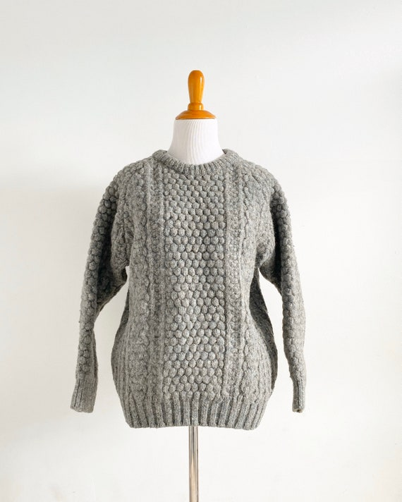 Vintage 1970s Irish Fisherman Wool Sweater | Chun… - image 2