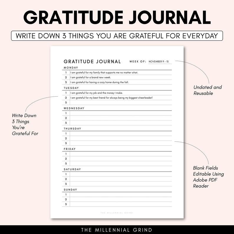 Gratitude Journal Printable Gratitude Journal PDF image 1