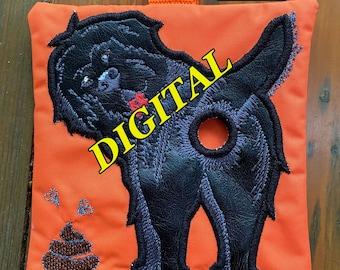 ITH Newfoundland Dog Poop bag dispenser machine embroidery design. Poop bag holder pattern. Digital design. Newfie embroidery. Hoop 5x7