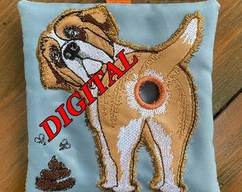 ITH Saint Bernard Dog Poop bag dispenser machine embroidery design. Poop bag holder pattern. Digital design. St Bernard embroidery. Hoop 5x7