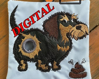 ITH Dachshund Wire Haired Poop bag dispenser machine embroidery design. Dog poop bag holder. Digital pattern of poop bag dispenser. Hoop 5x7