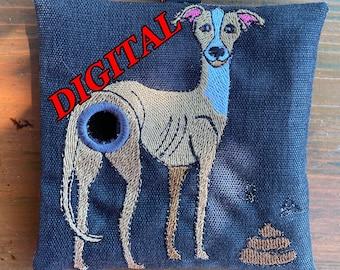 ITH Italian Greyhound Whippet Poop Waste bag dispenser machine embroidery design. Poop bag holder design. Digital design file. Hoop 5x7