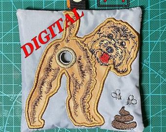 ITH Cockapoo Dog Poop bag dispenser machine embroidery design. Poop bag holder pattern. Cockapoo applique. Digital design. Hoop 5x7 and 4x4