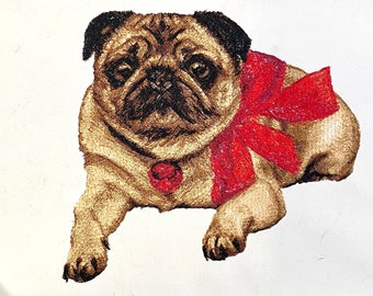 Pug embroidery design. Pug machine embroidery design. Pug with bow embroidery design. Photostitch machine embroidery. Hoop 7x10