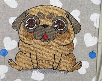 Pug embroidery design. Sitting pug. Pug machine embroidery design. Cute pug puppy embroidery design. Dog embroidery design. For the hoop 4x4