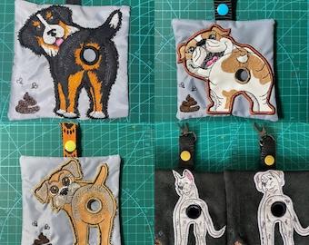 ITH Poop bag dispenser machine embroidery design. Dog poop bag holder. Set of 4 breeds. Hoop 5x7