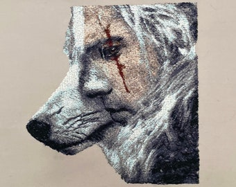 The Witcher, Geralt of Rivia, White Wolf machine embroidery design. The Witcher photostitch design.Photostitch machine embroidery. Hoop 7x10