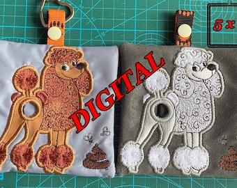 ITH Poodle Dog Poop bag dispenser machine embroidery design. Poop bag holder pattern. Poodle butt applique. Digital design. Hoop 5x7