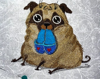 Pug embroidery design. Pug dog. Pug machine embroidery design. Pug with slippers embroidery design. Dog embroidery design. For the hoop 5x7