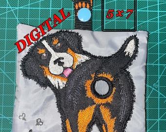 ITH Bernese Mountain Dog Sennenhund Poop bag dispenser machine embroidery design. Poop bag holder pattern. Digital design. Hoop 5x7