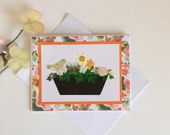 Thinking of you Beautiful pink tulips add beauty All occasion card A handmade note card that is blank on the inside Free delivery