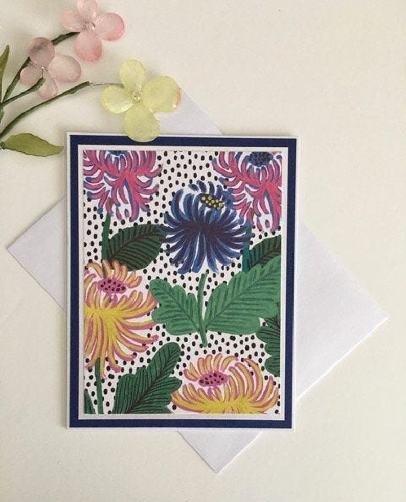 A rare blue flower is a tropical beauty A handmade note card that is blank on the inside All occasion card free delivery Birthday