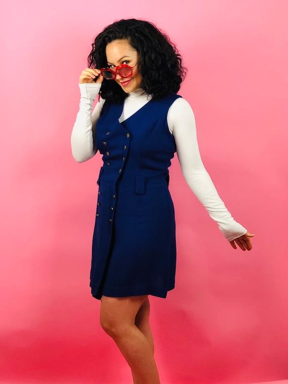 Vintage 60s Blue Button Pinafore Dress - image 4
