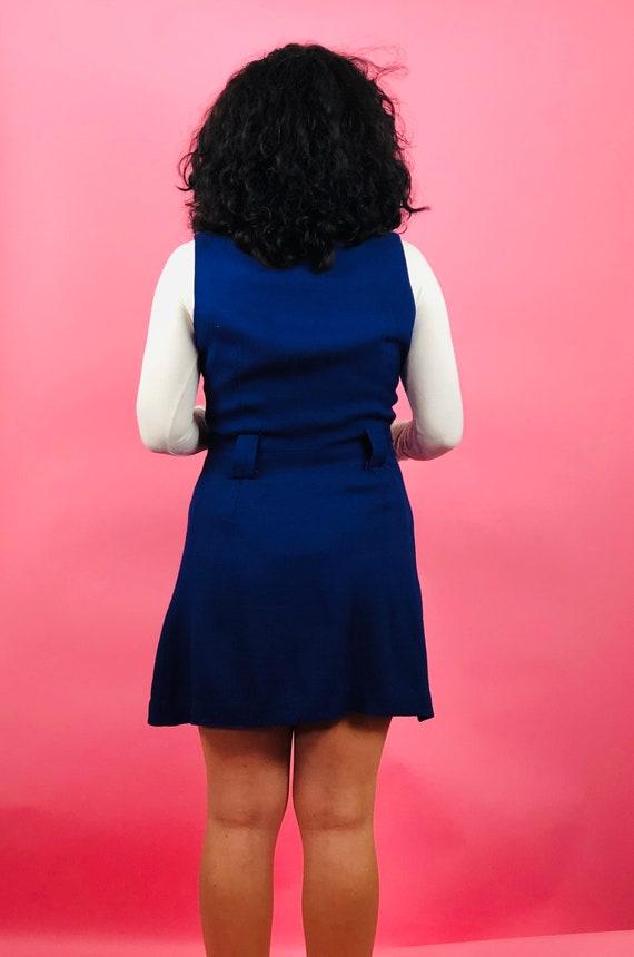 Vintage 60s Blue Button Pinafore Dress - image 5