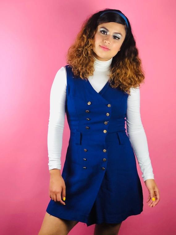 Vintage 60s Blue Button Pinafore Dress - image 1