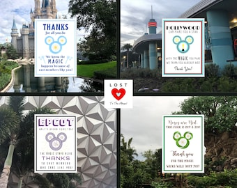 DELUXE DISNEY WORLD Cast Member Notes! Four Parks Set. Show some Love to the Cast Members on your visits to the Parks!