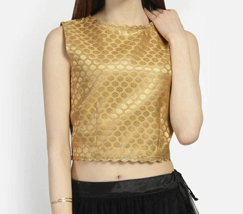 Golden Brocade Art silk blouse wedding blouse readymade blouse indian designer partywear blouse blouses for bridesmaids suitable for saree