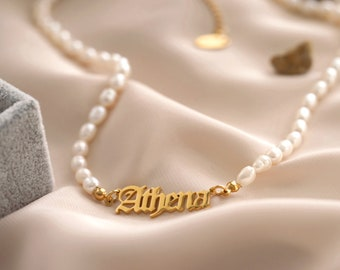 18K Gold Old English Name Necklace, Pearl Waterproof Name Necklace, Gold STAINLESS STEEL Custom Necklace, Personalized Birthday Gift