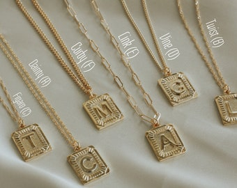 Gold Initial M Necklace, Medal G Letter Necklace, Alphabet Square C Necklace, A to Z Letter, Square Block Necklace,UNISEX, Mother's Day Gift