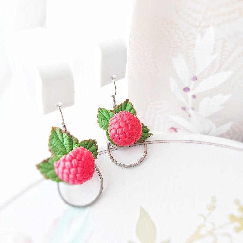 fake  mini food jewelry Raspberry earrings kawaii miniature berry earrings vegan fruit earrings forest earrings handmade earrings