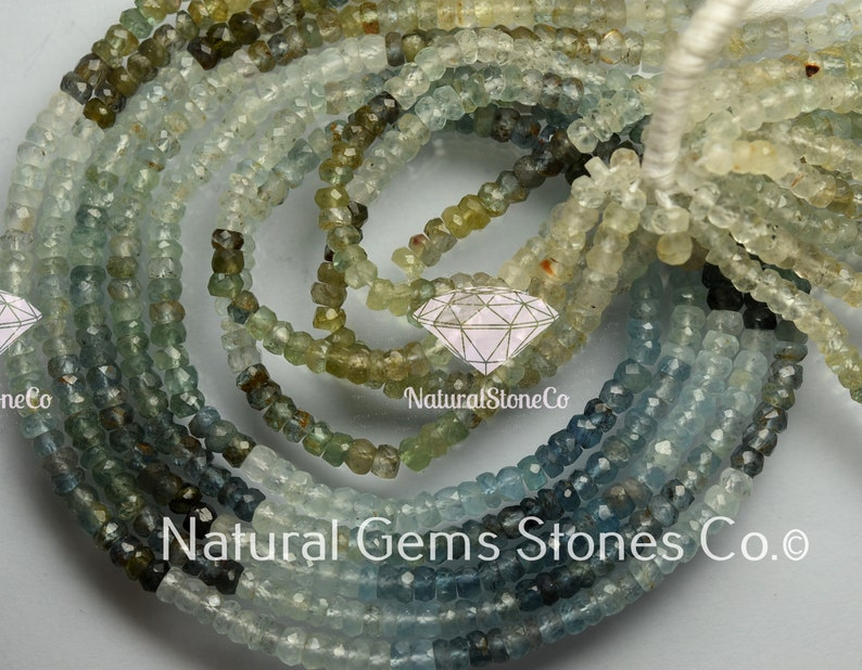 Size 4mm Natural Multi Aquamarine Faceted Rondelles 14 Inches NZ0105