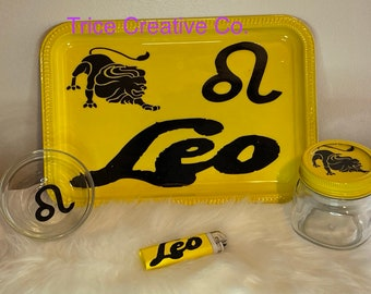 Zodiac sign| 4pc Rolling Tray Set| Happy Birthday
