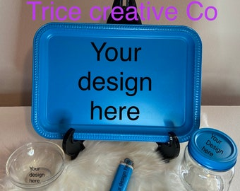 Personalized | Custom 4PC Rolling Tray set |