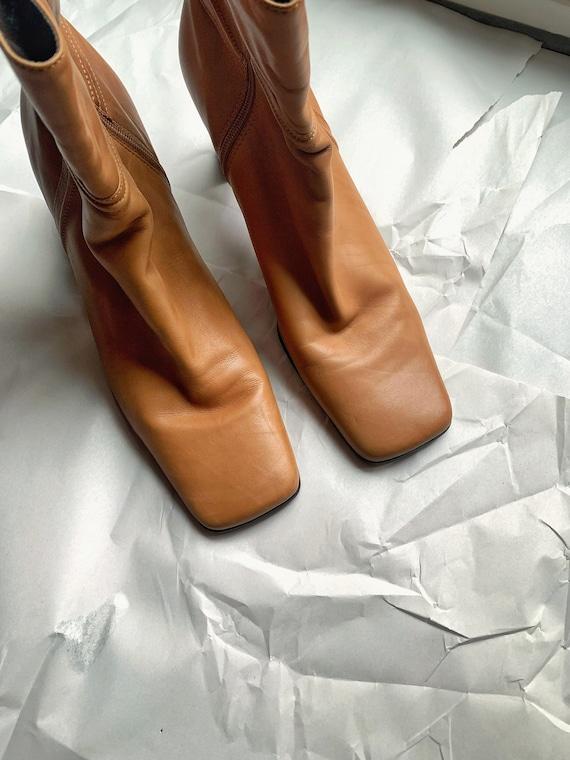 Vintage 90s Nine West Square Toe Boots 10 Y2K 1990