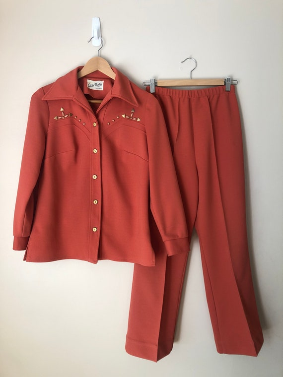 Vintage 70s Western Coral Studded Leisure Suit