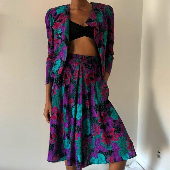 Vintage Purple Floral Two Piece Blazer Skirt Set … - image 1